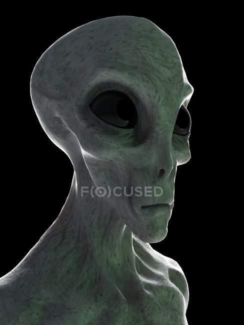 Cabeza alienígena gris sobre fondo negro, ilustración digital . - foto de stock