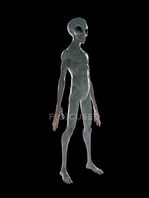 Grey alien on black background, digital illustration. — Stock Photo