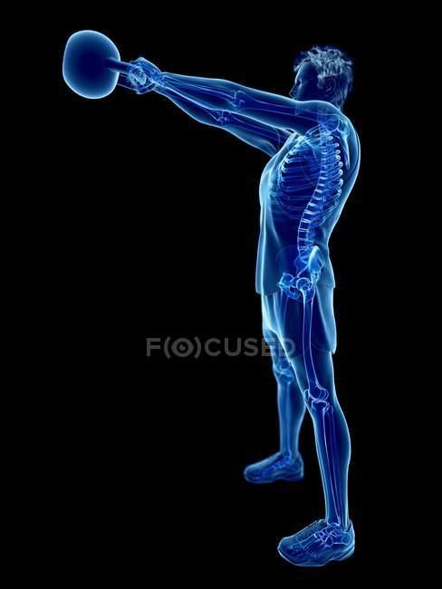Scheletro ossa di uomo facendo allenamento kettlebell, illustrazione digitale concettuale . — Foto stock
