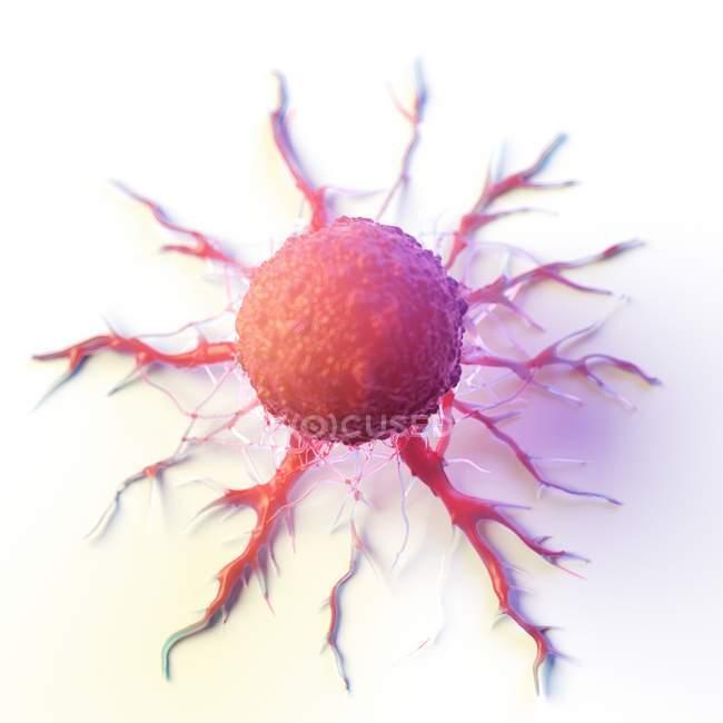 Abstrakte rot gefärbte Krebszelle auf weißem Hintergrund, digitale Illustration. — Stockfoto