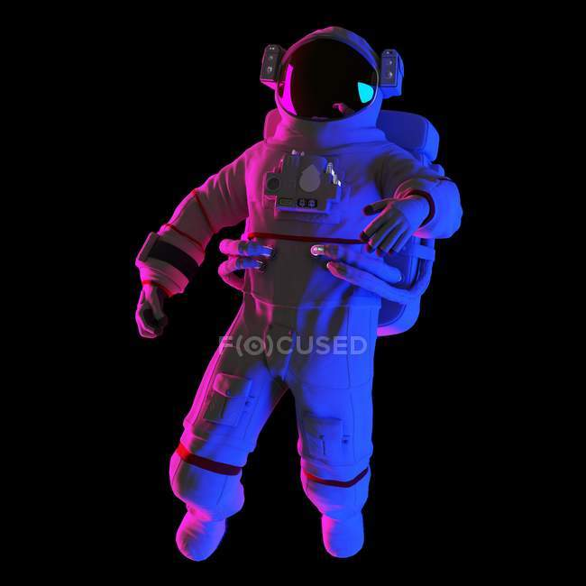 Astronaut floating on black background, computer illustration. — Stock Photo