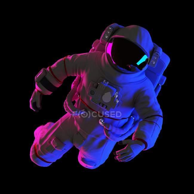 Astronaute flottant sur fond noir, illustration d'ordinateur. — Photo de stock