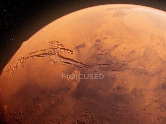 Valles Marineris canyon system on Mars surface from space, illustrazione digitale . — Foto stock