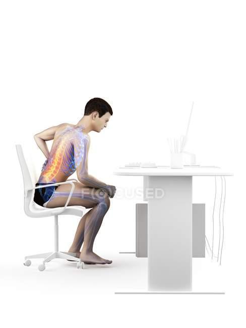 Вид сбоку офисного работника с болью в спине из-за сидения за столом, концептуальная иллюстрация . — стоковое фото