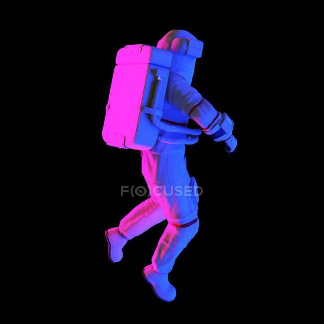 Multicolored astronaut on black background, computer illustration. — Stock Photo
