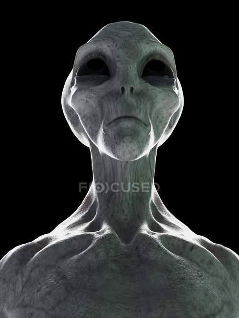 Testa aliena grigia su sfondo nero, illustrazione digitale. — Foto stock
