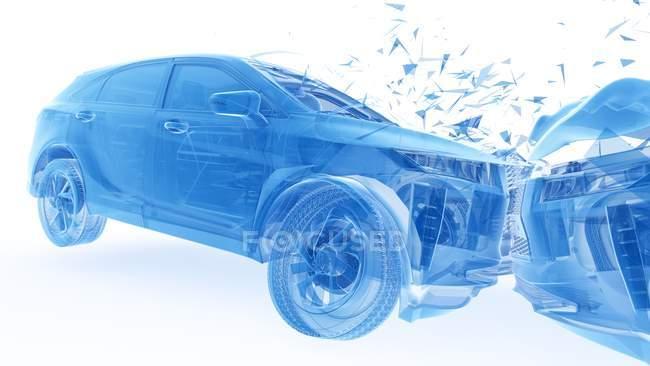Пошкодження транспортного засобу, а голова-на автокатастрофі, цифрова ілюстрація. — стокове фото