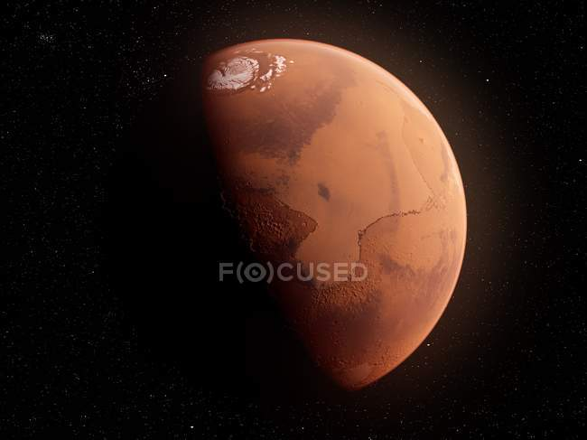 Surface de la planète rouge de Mars, illustration informatique . — Photo de stock