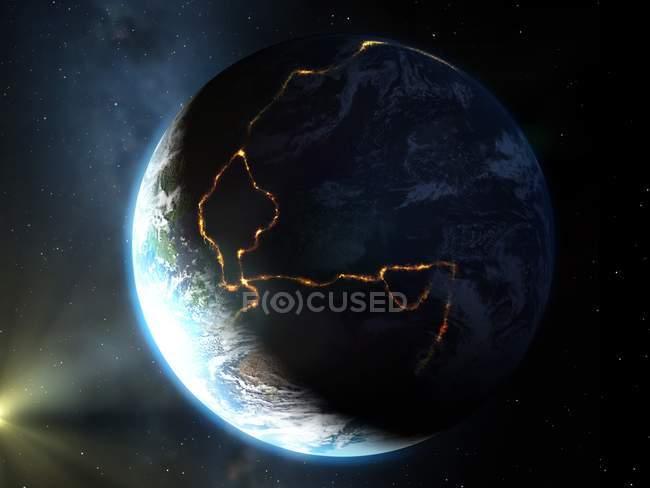 Obra de arte de la llamada región del Anillo de Fuego de los límites de placas tectónicas alrededor del Océano Pacífico en la Tierra . - foto de stock