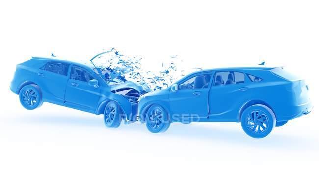 Опасность лобовой автокатастрофы, цифровая иллюстрация . — стоковое фото