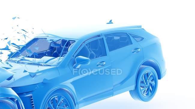 Peligroso de accidente de coche frontal, ilustración digital . - foto de stock