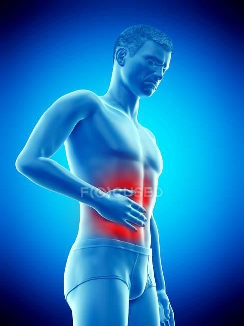 Cuerpo masculino abstracto con dolor abdominal, ilustración digital conceptual . - foto de stock