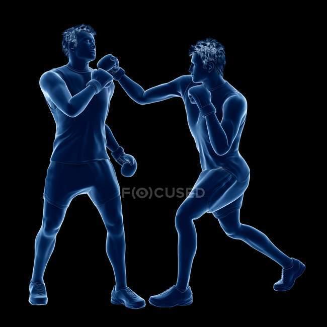 3d ilustración digital de dos hombres abstractos boxeo sobre fondo negro . - foto de stock