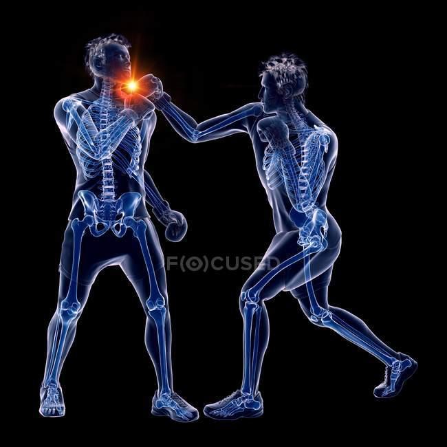 Ilustração digital 3d de dois homens abstratos boxe com ponto de soco brilhante no fundo preto . — Fotografia de Stock
