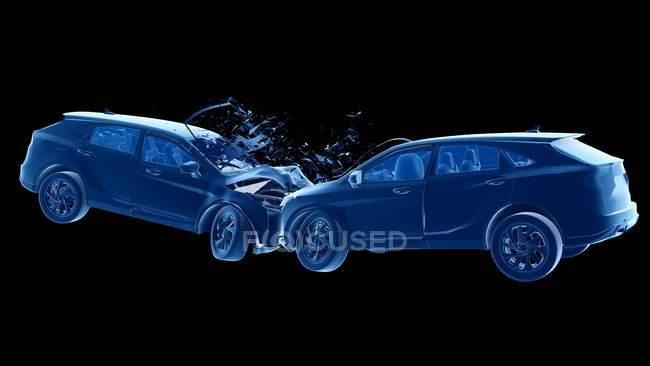 Dangerous of head-on car crash, digital illustration. — Stock Photo