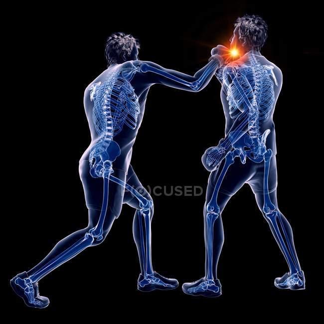 3d ilustración digital de dos hombres abstractos boxeo con punzón brillante sobre fondo negro . - foto de stock