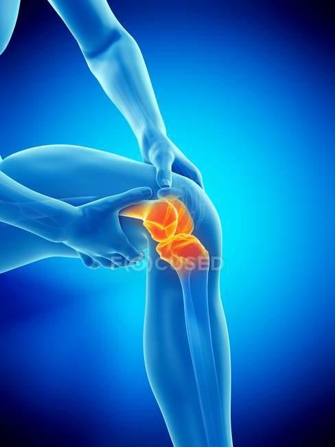 Абстрактуйте чоловіче тіло з видимим болем коліна, цифровий приклад. — стокове фото