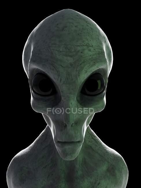 Cabeça alienígena cinza no fundo preto, ilustração digital . — Fotografia de Stock