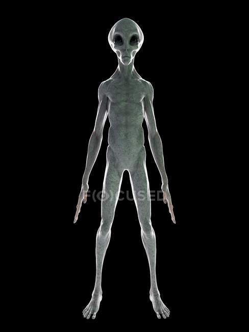 Front view of grey alien on black background, digital illustration. — Stock Photo