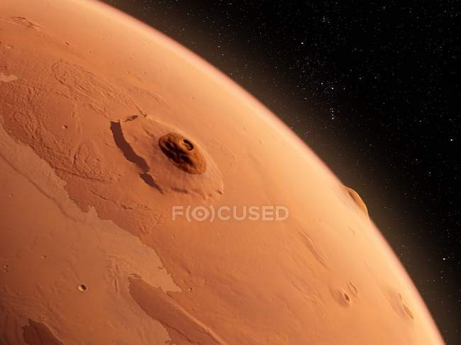 Olympus Mons volcano on Mars surface from space, digital illustration. — Stock Photo