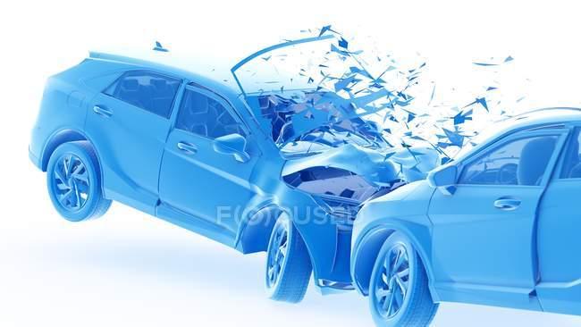 Dangerous of head-on car crash, digital illustration. — стокове фото