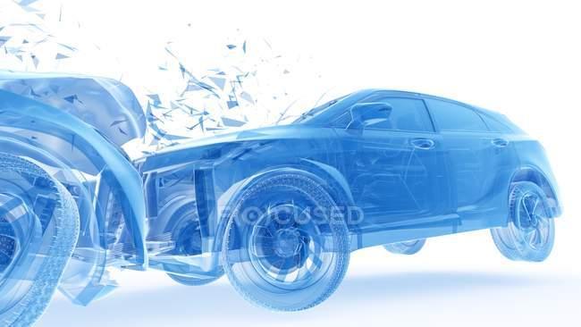 Daños en el vehículo durante el choque frontal del coche, ilustración digital . - foto de stock