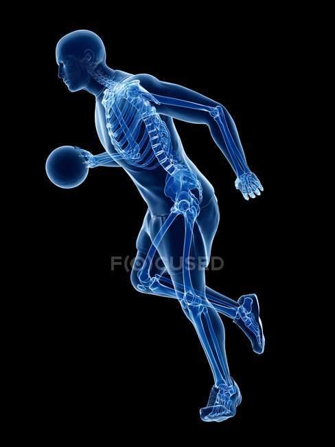 Scheletro del giocatore di basket in azione, illustrazione del computer . — Foto stock