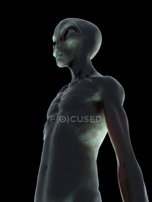 Grey alien in low angle on black background, digital illustration. — Stock Photo