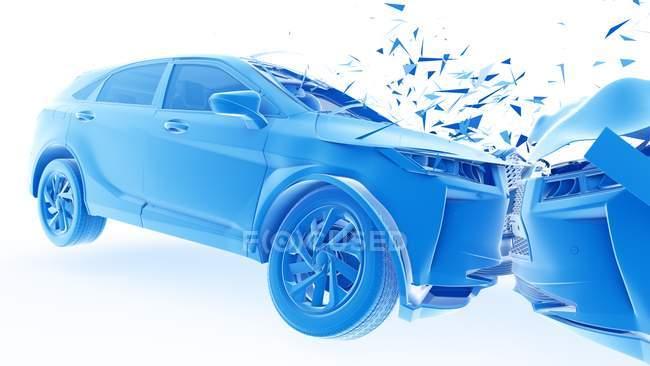 Vehicle damage while head-on car crash, digital illustration. — Stock Photo