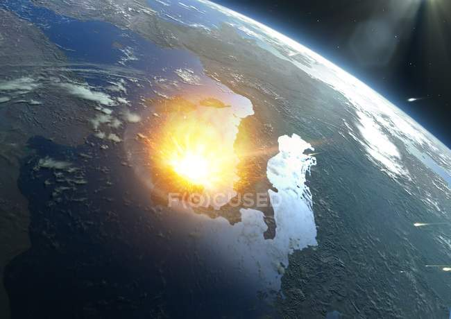 Illustration of large asteroid colliding with modern Earth in Mediterranean Sea, asteroid impact concept. — Stock Photo