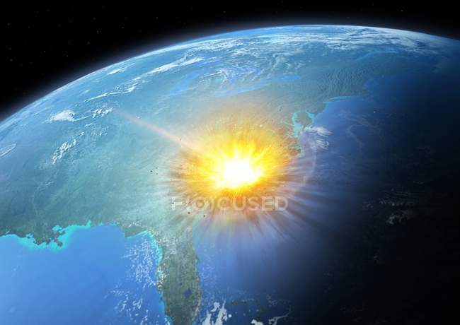 Illustration of large asteroid colliding with modern Earth on Easter Seaboard of United States, asteroid impact concept. — Stock Photo