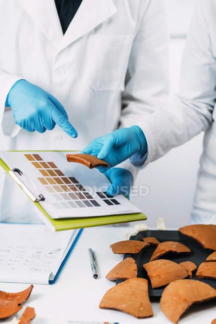 Середня секція археологів порівнює кольори кераміки з схемою кольорових діаграм у лабораторії.. — стокове фото