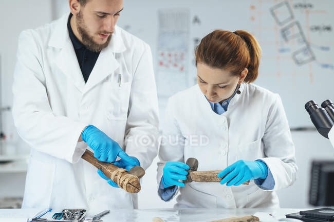 Archaeology researchers in laboratory reconstructing usage of ancient tools. — Stockfoto