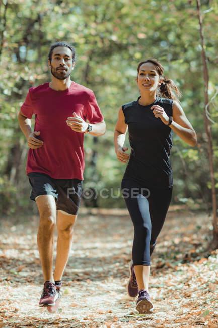 Des amis qui aiment courir dehors dans un parc ensoleillé . — Photo de stock