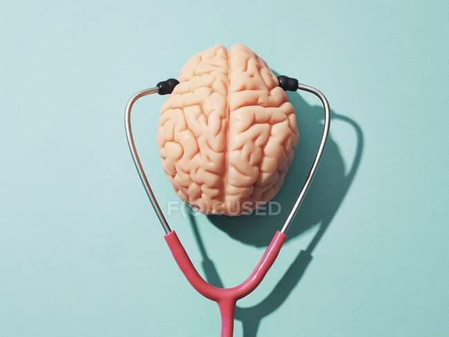 Cerebro humano y estetoscopio, imagen conceptual de salud mental. - foto de stock