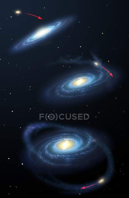 Secuencia que muestra galaxia enana como Sagitario Enano encontrándose con la Vía Láctea, posterior interrupción y distorsión . - foto de stock