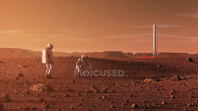 Artwork on astronauts exploring Red Planet Mars surface in future. — Stock Photo