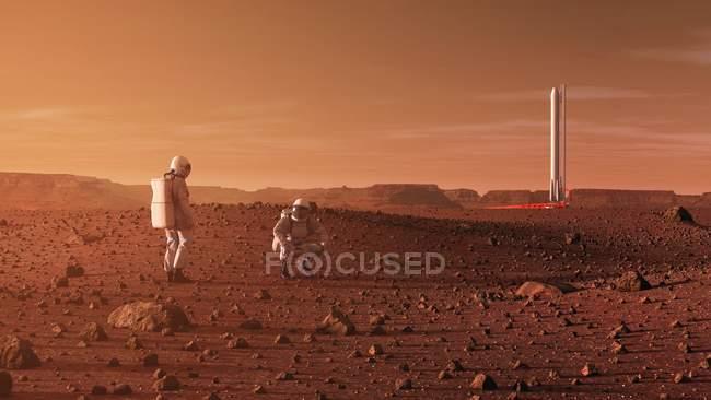 Obras de arte sobre astronautas explorando a superfície do Planeta Vermelho Marte no futuro. — Fotografia de Stock