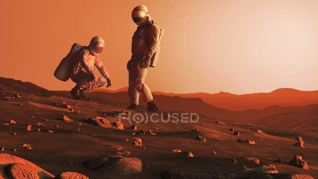 Artwork on astronauts on Red Planet Mars surface in future. — Stock Photo
