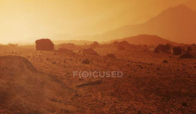 Artwork of surface of rocky desert landscape of Mars typified by boulders, impact craters, sand dunes and canyons. — Stock Photo