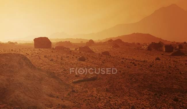 Поверхня скелястого пустельного пейзажу Марса типова для валунів, ударних кратерів, піщаних дюн і каньйонів.. — стокове фото