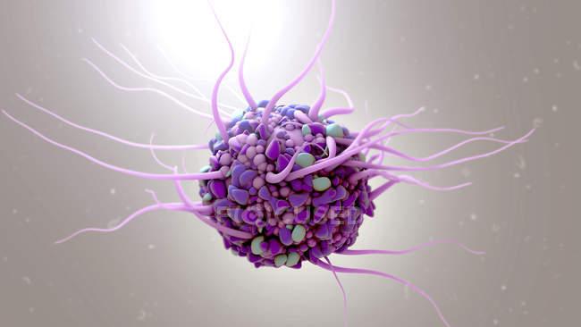 Dendritische Zelle auf glattem Hintergrund, digitale Illustration. — Stockfoto