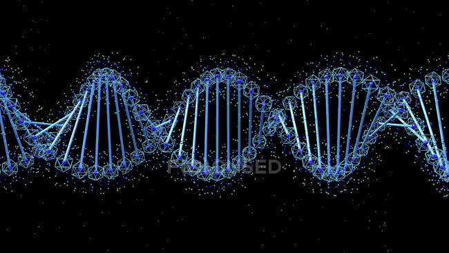 DNA molecule on black background, digital illustration. — Stock Photo