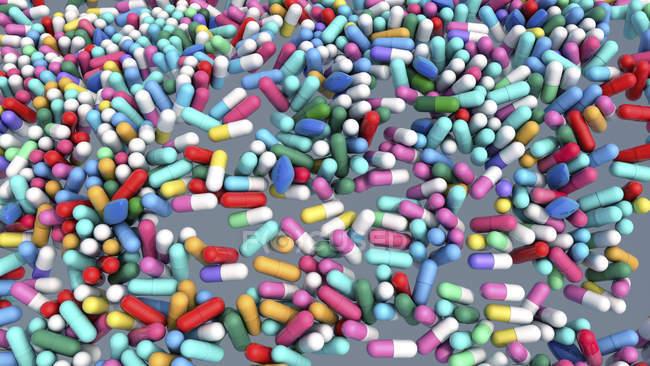 Многоцветные капсулы для лекарств, цифровая иллюстрация. — стоковое фото