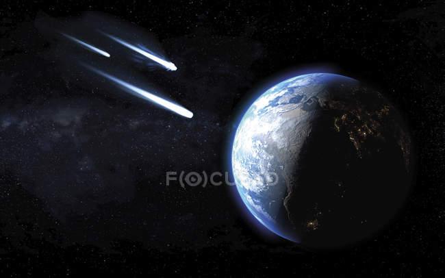 Tres cometas helados pasando por el planeta Tierra, ilustración digital . - foto de stock