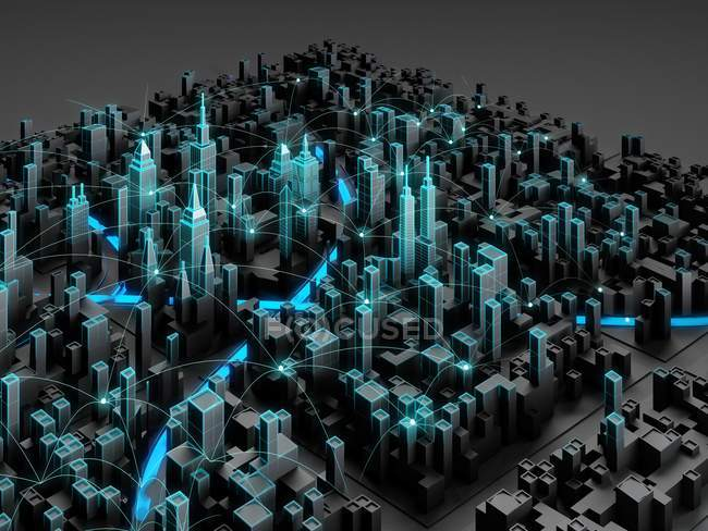 Digital city with smart technology, conceptual 3D digital illustration. — Stock Photo