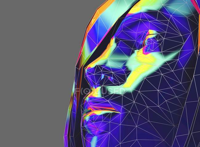 Female face in side view in low poly style, digital illustration. — Stock Photo
