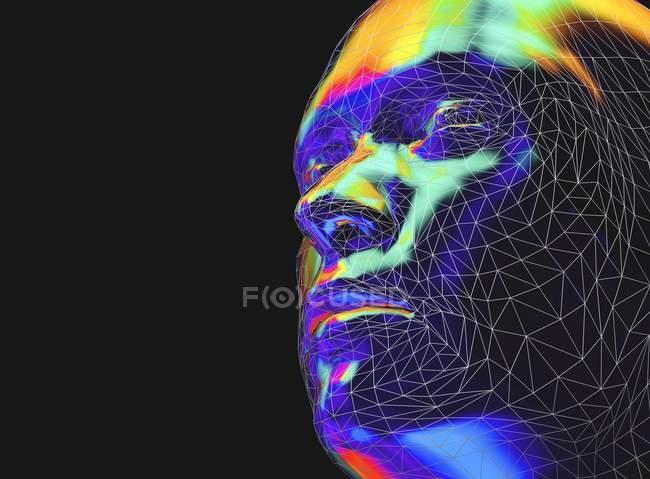 Чоловік обличчям збоку в стилі низької поли, цифрові ілюстрації. — стокове фото