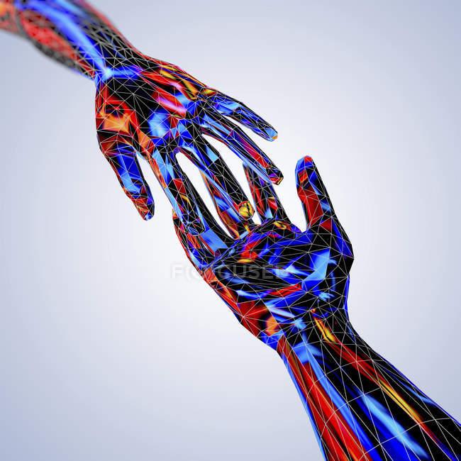 Mãos estendidas tocando em estilo poli baixo, ilustração digital . — Fotografia de Stock