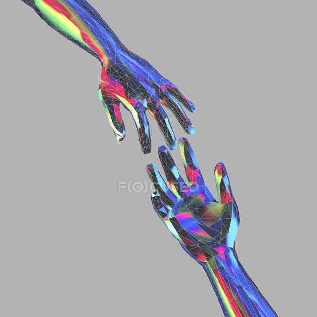 Mãos estendidas em estilo poli baixo, ilustração digital . — Fotografia de Stock